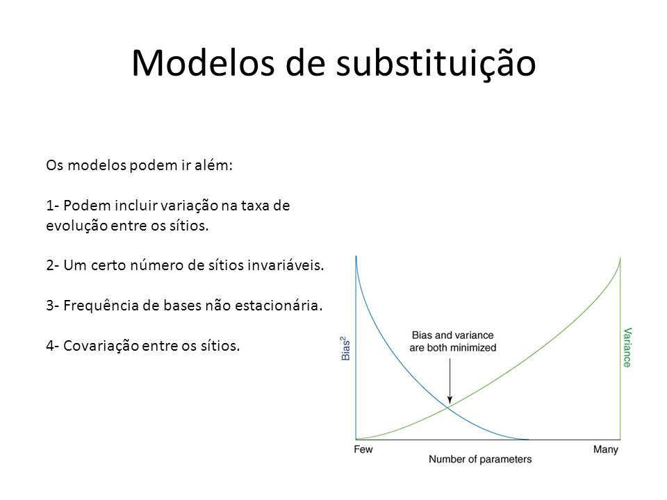 Modelos de substituição Os modelos podem ir além: 1- Podem incluir variação na taxa de evolução entre os sítios. 2- Um certo número de sítios invariáv