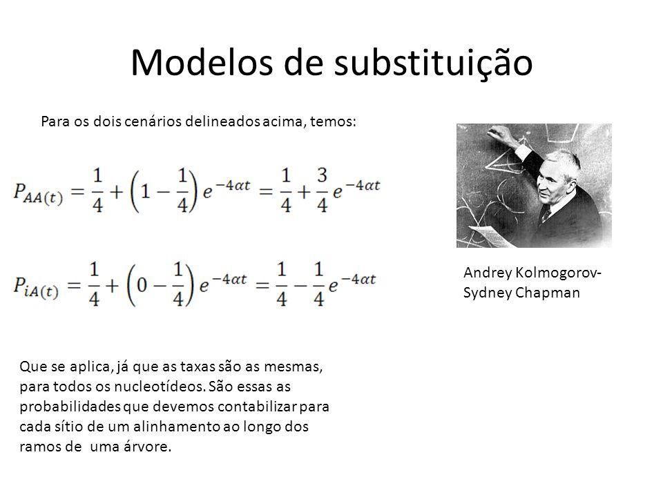 Modelos de substituição Para os dois cenários delineados acima, temos: Que se aplica, já que as taxas são as mesmas, para todos os nucleotídeos.