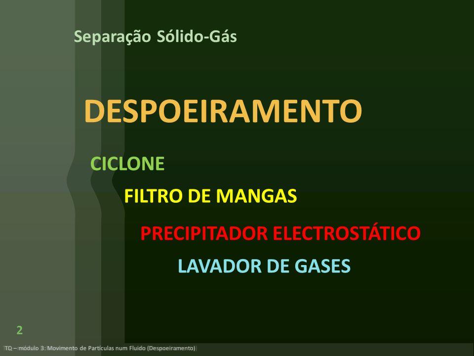 A mistura de gás e partículas sólidas entra tangencialmente pela parte superior.
