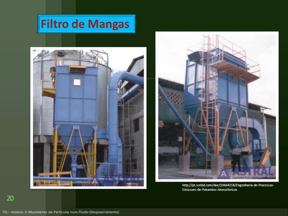 20 TQ – módulo 3: Movimento de Partículas num Fluido (Despoeiramento) Filtro de Mangas http://pt.scribd.com/doc/33664218/Engenharia-de-Processos- Emis