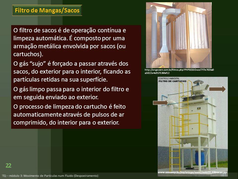 Filtro de Mangas/Sacos O filtro de sacos é de operação contínua e limpeza automática. É composto por uma armação metálica envolvida por sacos (ou cart