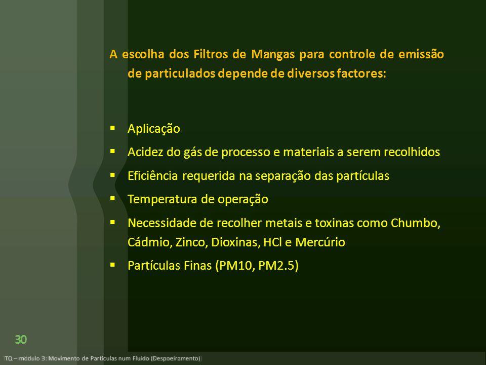 A escolha dos Filtros de Mangas para controle de emissão de particulados depende de diversos factores: Aplicação Acidez do gás de processo e materiais