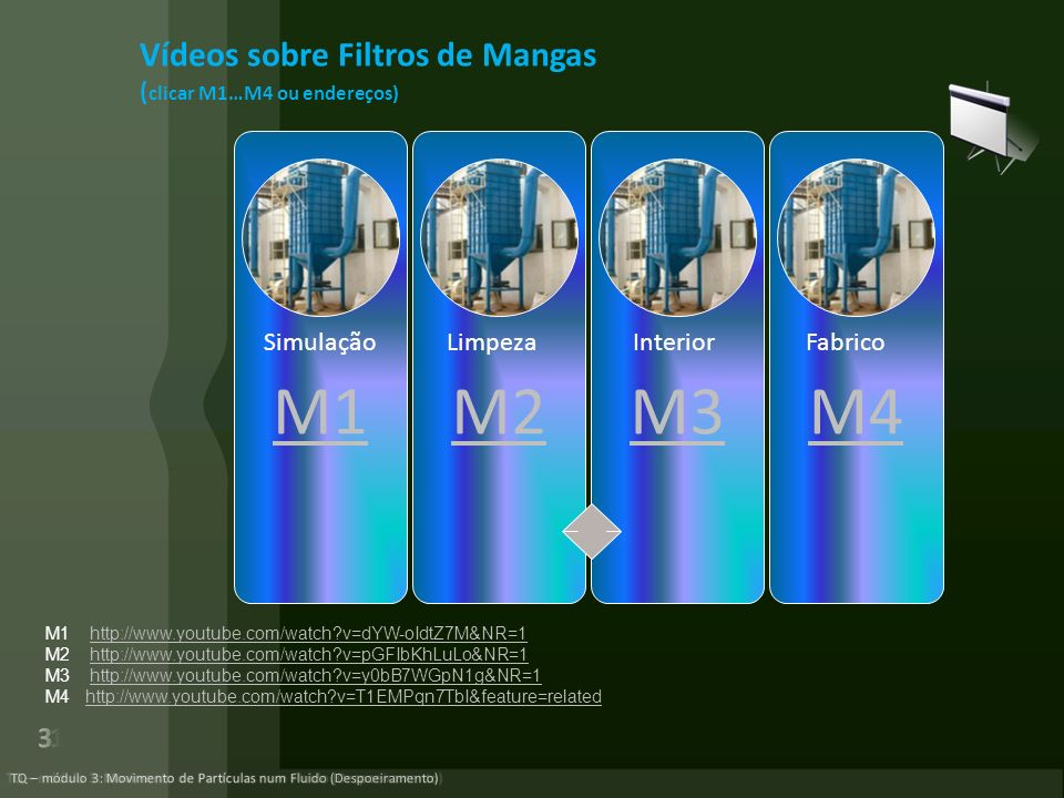 M1M2M3M4 Vídeos sobre Filtros de Mangas ( clicar M1…M4 ou endereços) Simulação Limpeza Interior Fabrico M1 http://www.youtube.com/watch?v=dYW-oIdtZ7M&NR=1http://www.youtube.com/watch?v=dYW-oIdtZ7M&NR=1 M2 http://www.youtube.com/watch?v=pGFIbKhLuLo&NR=1http://www.youtube.com/watch?v=pGFIbKhLuLo&NR=1 M3 http://www.youtube.com/watch?v=y0bB7WGpN1g&NR=1http://www.youtube.com/watch?v=y0bB7WGpN1g&NR=1 M4 http://www.youtube.com/watch?v=T1EMPqn7TbI&feature=relatedhttp://www.youtube.com/watch?v=T1EMPqn7TbI&feature=related