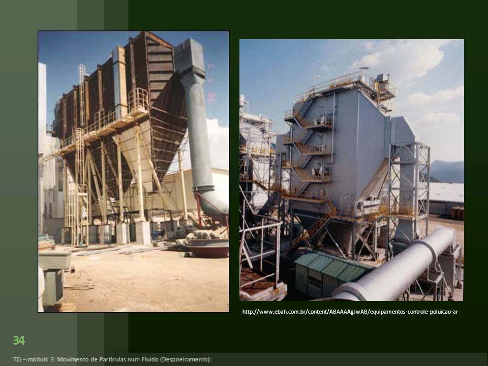 34 TQ – módulo 3: Movimento de Partículas num Fluido (Despoeiramento) http://www.ebah.com.br/content/ABAAAAgJwAB/equipamentos-controle-poluicao-ar