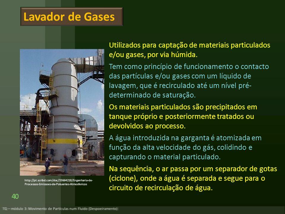 Utilizados para captação de materiais particulados e/ou gases, por via húmida. Tem como princípio de funcionamento o contacto das partículas e/ou gase