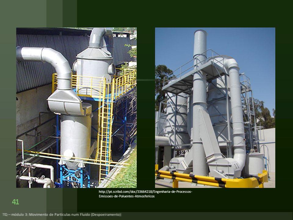 41 TQ – módulo 3: Movimento de Partículas num Fluido (Despoeiramento) http://pt.scribd.com/doc/33664218/Engenharia-de-Processos- Emissoes-de-Poluentes