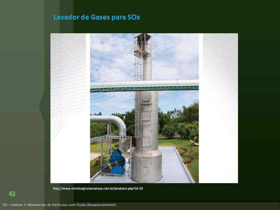 43 TQ – módulo 3: Movimento de Partículas num Fluido (Despoeiramento) Lavador de Gases para SOx http://www.metalurgicatamarana.com.br/produtos.php?id=