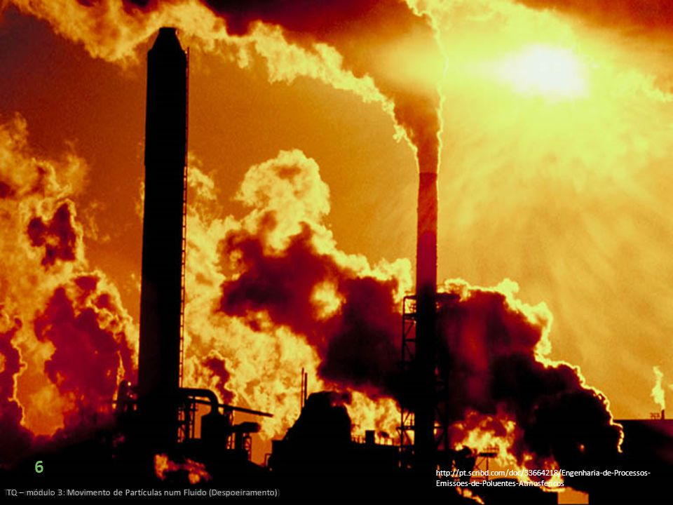 6 TQ – módulo 3: Movimento de Partículas num Fluido (Despoeiramento) http://pt.scribd.com/doc/33664218/Engenharia-de-Processos- Emissoes-de-Poluentes-