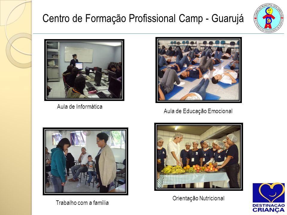 Centro de Formação Profissional Camp - Guarujá Aula de Informática Aula de Educação Emocional Trabalho com a família Orientação Nutricional