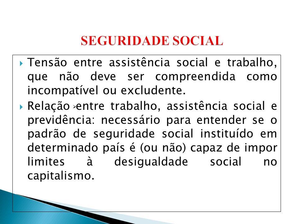 Tensão entre assistência social e trabalho, que não deve ser compreendida como incompatível ou excludente.