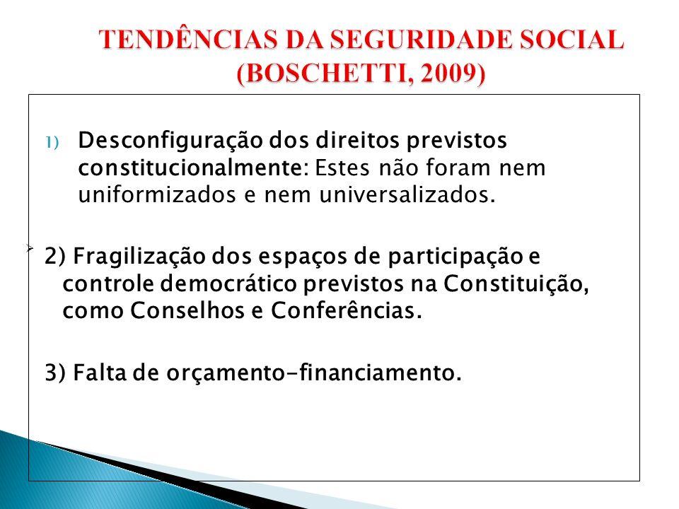 1) Desconfiguração dos direitos previstos constitucionalmente: Estes não foram nem uniformizados e nem universalizados.