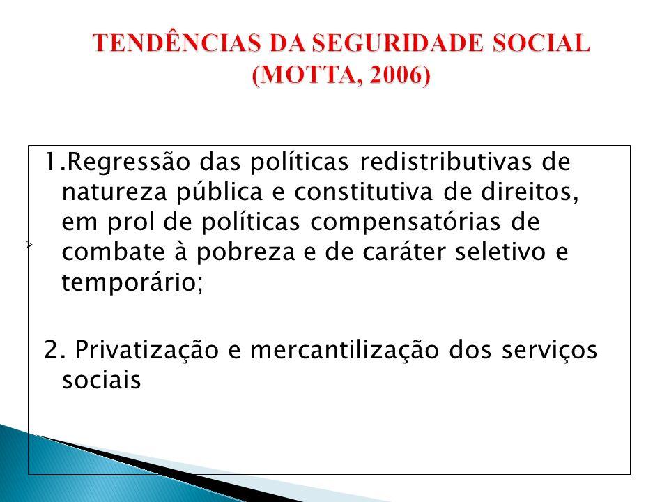 1.Regressão das políticas redistributivas de natureza pública e constitutiva de direitos, em prol de políticas compensatórias de combate à pobreza e de caráter seletivo e temporário; 2.