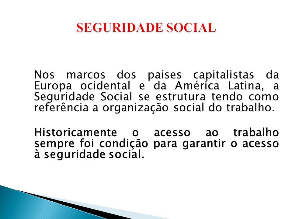 Nos marcos dos países capitalistas da Europa ocidental e da América Latina, a Seguridade Social se estrutura tendo como referência a organização social do trabalho.