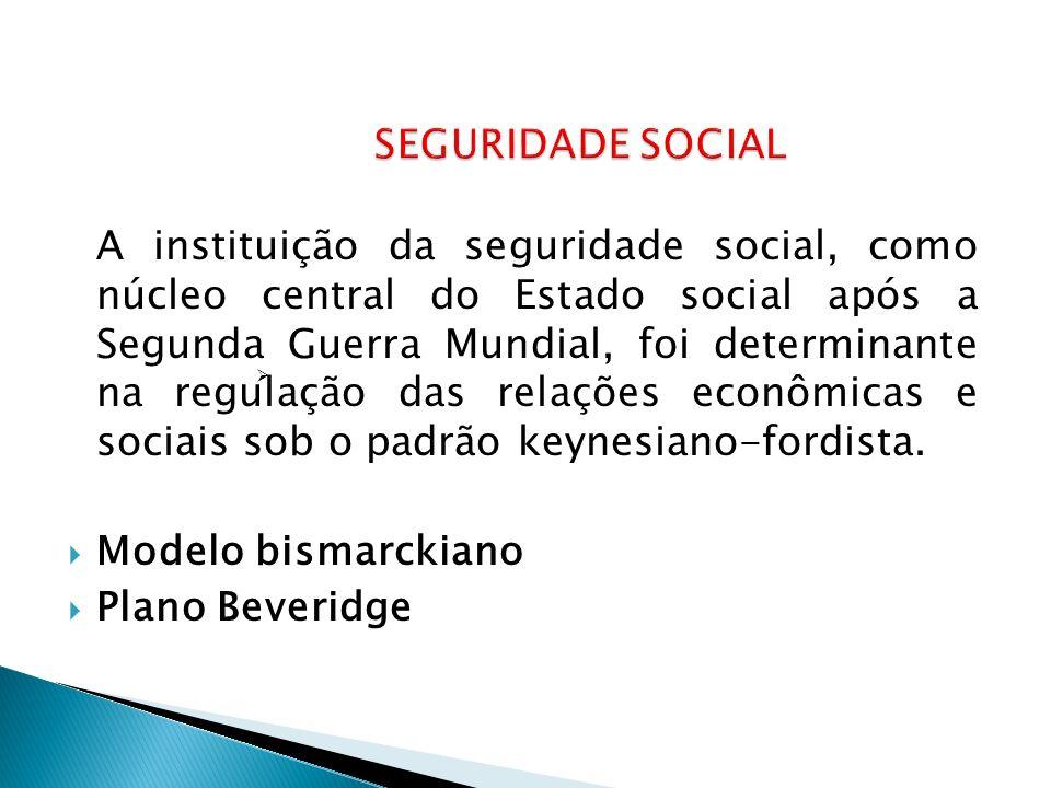 A instituição da seguridade social, como núcleo central do Estado social após a Segunda Guerra Mundial, foi determinante na regulação das relações econômicas e sociais sob o padrão keynesiano-fordista.