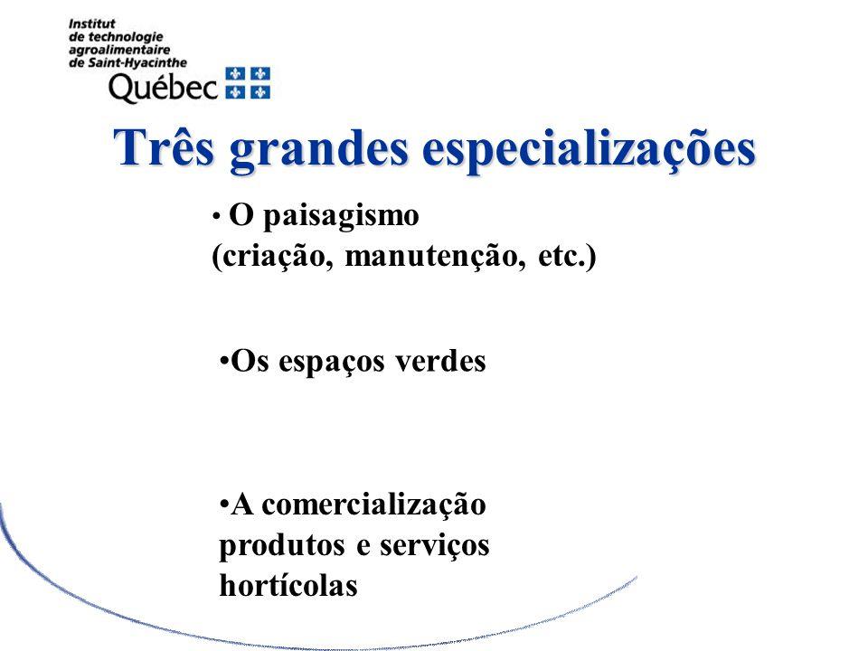 Três grandes especializações O paisagismo (criação, manutenção, etc.) Os espaços verdes A comercialização produtos e serviços hortícolas DEC en Paysag