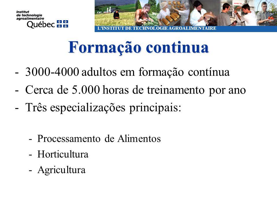 Formação continua LINSTITUT DE TECHNOLOGIE AGROALIMENTAIRE -3000 à 4000 heures de formation continue par année -Environ 5000 heures de formation par a