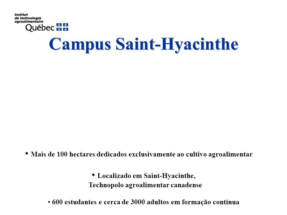 Campus Saint-Hyacinthe Mais de 100 hectares dedicados exclusivamente ao cultivo agroalimentar Localizado em Saint-Hyacinthe, Technopolo agroalimentar