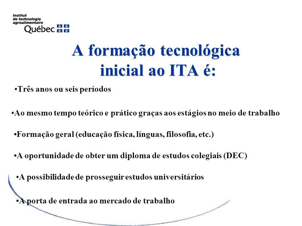 A formação tecnológica inicial ao ITA é: Três anos ou seis períodos Ao mesmo tempo teórico e prático graças aos estágios no meio de trabalho Formação