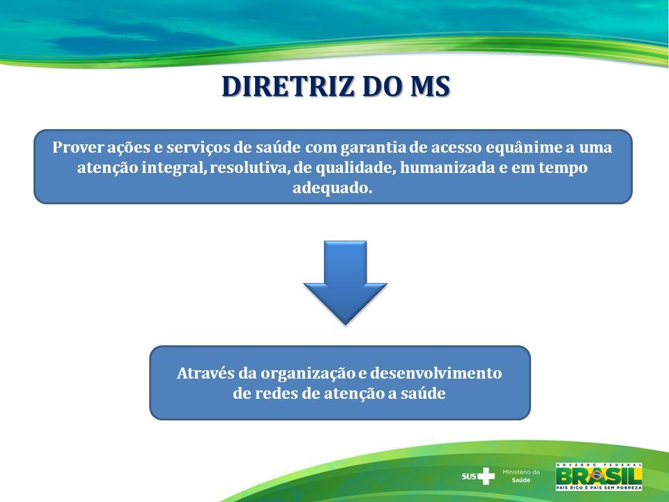 DIRETRIZ DO MS Prover ações e serviços de saúde com garantia de acesso equânime a uma atenção integral, resolutiva, de qualidade, humanizada e em temp