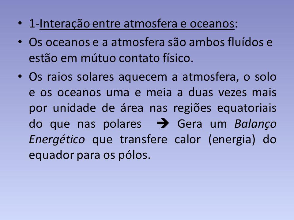 1-Interação entre atmosfera e oceanos: Os oceanos e a atmosfera são ambos fluídos e estão em mútuo contato físico. Os raios solares aquecem a atmosfer