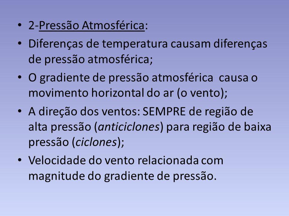 2-Pressão Atmosférica: Diferenças de temperatura causam diferenças de pressão atmosférica; O gradiente de pressão atmosférica causa o movimento horizo