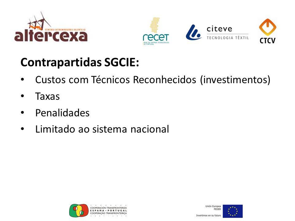 Contrapartidas SGCIE: Custos com Técnicos Reconhecidos (investimentos) Taxas Penalidades Limitado ao sistema nacional