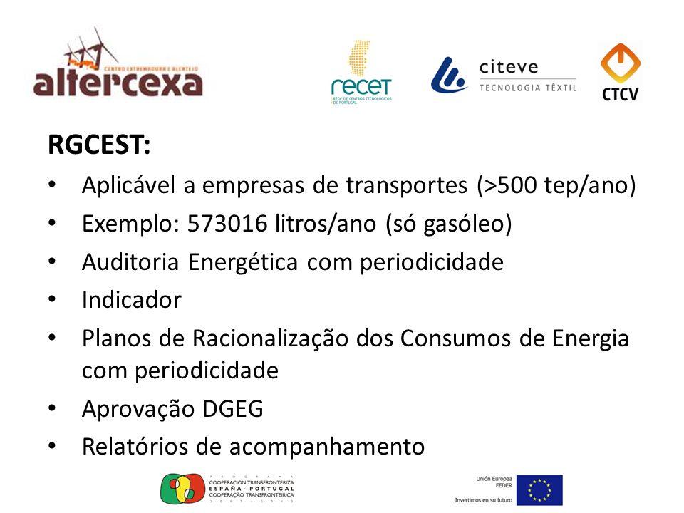 RGCEST: Aplicável a empresas de transportes (>500 tep/ano) Exemplo: 573016 litros/ano (só gasóleo) Auditoria Energética com periodicidade Indicador Pl