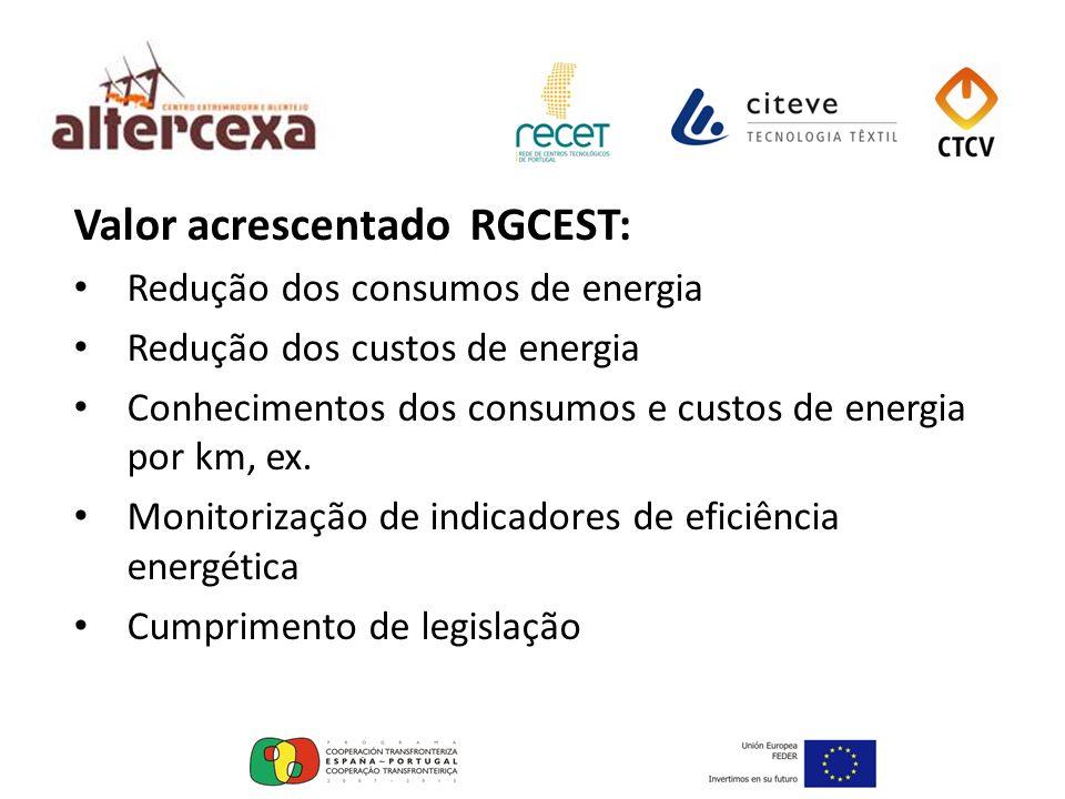 Valor acrescentado RGCEST: Redução dos consumos de energia Redução dos custos de energia Conhecimentos dos consumos e custos de energia por km, ex. Mo