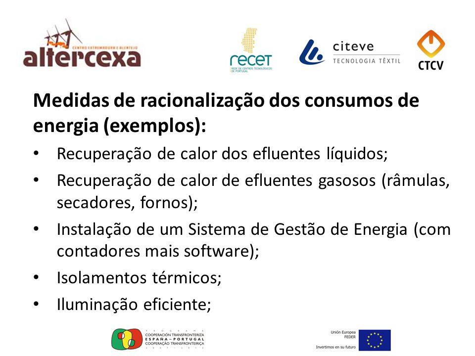 Medidas de racionalização dos consumos de energia (exemplos): Recuperação de calor dos efluentes líquidos; Recuperação de calor de efluentes gasosos (
