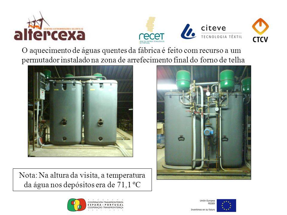 O aquecimento de águas quentes da fábrica é feito com recurso a um permutador instalado na zona de arrefecimento final do forno de telha Nota: Na altu