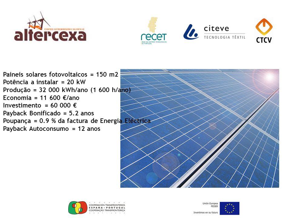 Paineis solares fotovoltaicos = 150 m2 Potência a instalar = 20 kW Produção = 32 000 kWh/ano (1 600 h/ano) Economia = 11 600 /ano Investimento = 60 00