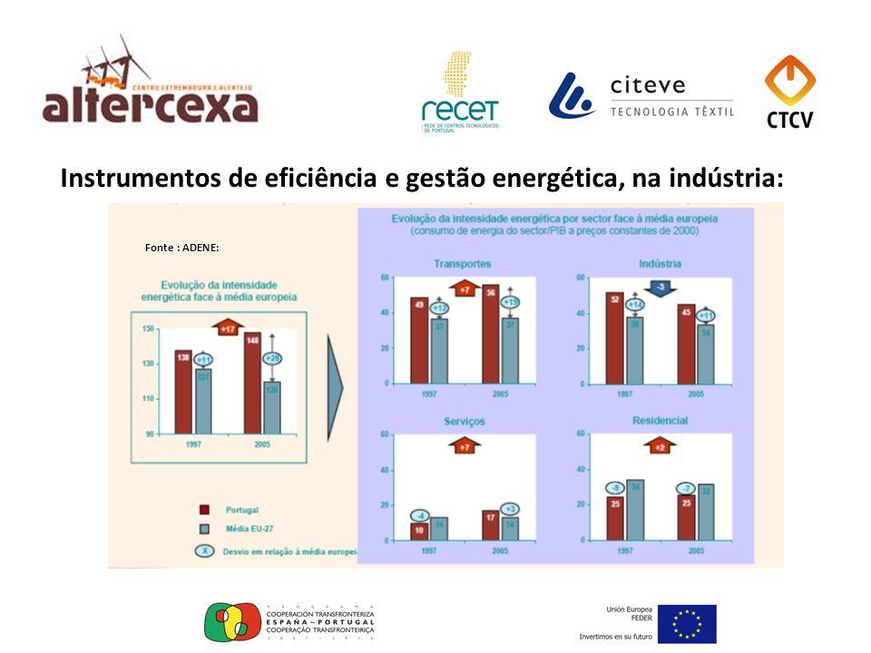 Instrumentos de eficiência e gestão energética, na indústria: Fonte : ADENE: