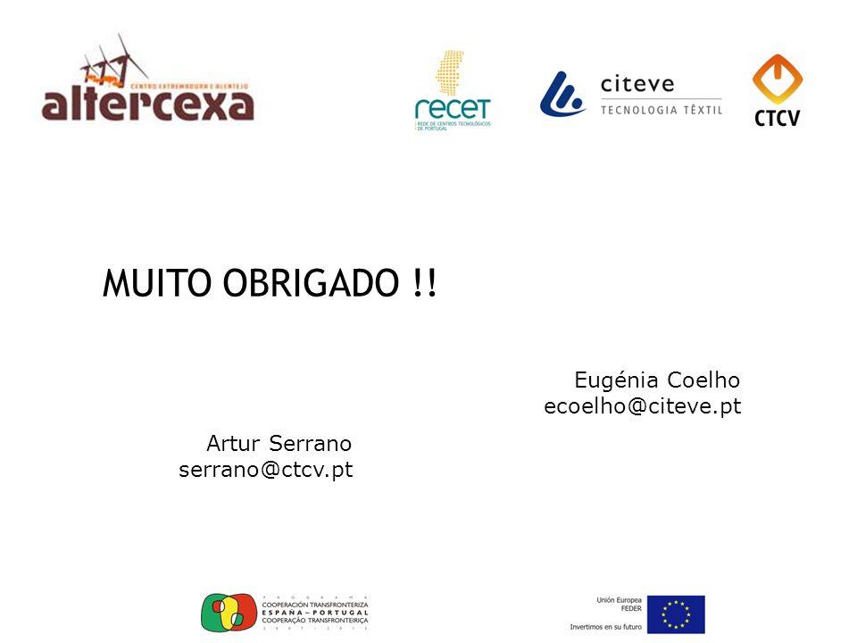 MUITO OBRIGADO !! Eugénia Coelho ecoelho@citeve.pt Artur Serrano serrano@ctcv.pt