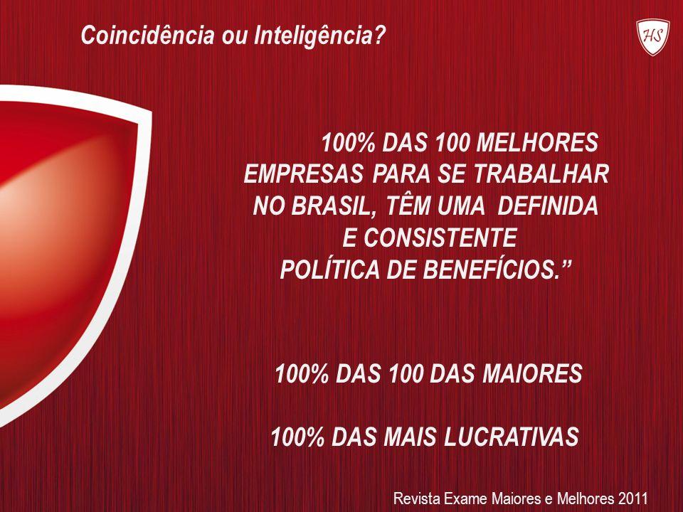 100% DAS 100 MELHORES EMPRESAS PARA SE TRABALHAR NO BRASIL, TÊM UMA DEFINIDA E CONSISTENTE POLÍTICA DE BENEFÍCIOS. 100% DAS 100 DAS MAIORES 100% DAS M