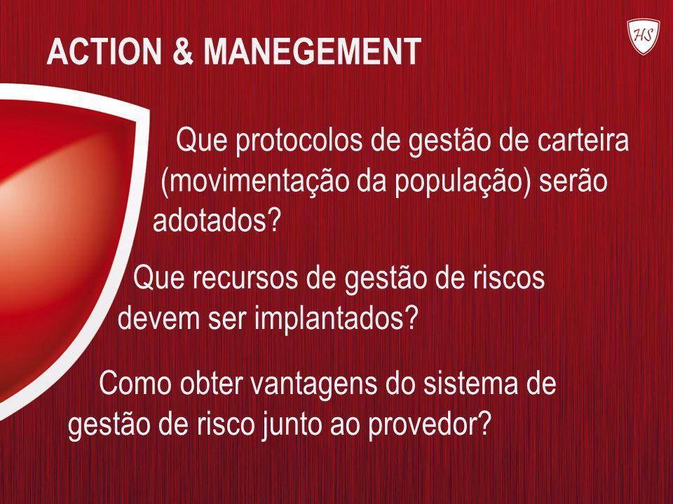 ACTION & MANEGEMENT Que protocolos de gestão de carteira (movimentação da população) serão adotados? Que recursos de gestão de riscos devem ser implan