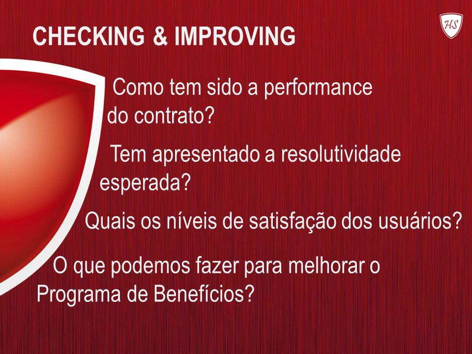 CHECKING & IMPROVING Como tem sido a performance do contrato? Tem apresentado a resolutividade esperada? O que podemos fazer para melhorar o Programa