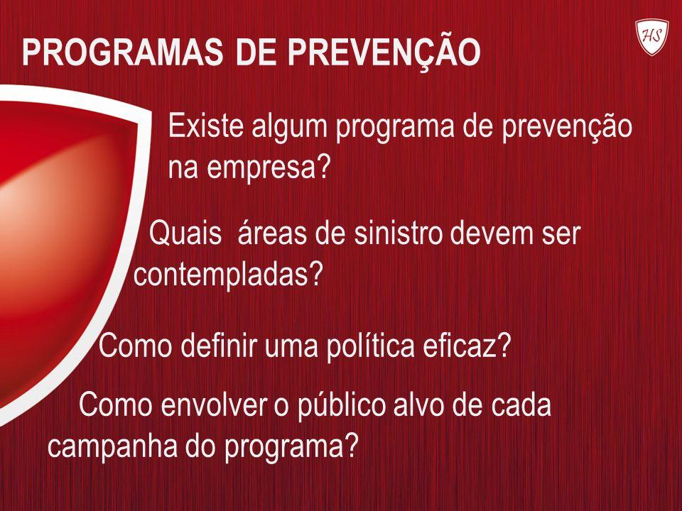PROGRAMAS DE PREVENÇÃO Existe algum programa de prevenção na empresa? Quais áreas de sinistro devem ser contempladas? Como envolver o público alvo de
