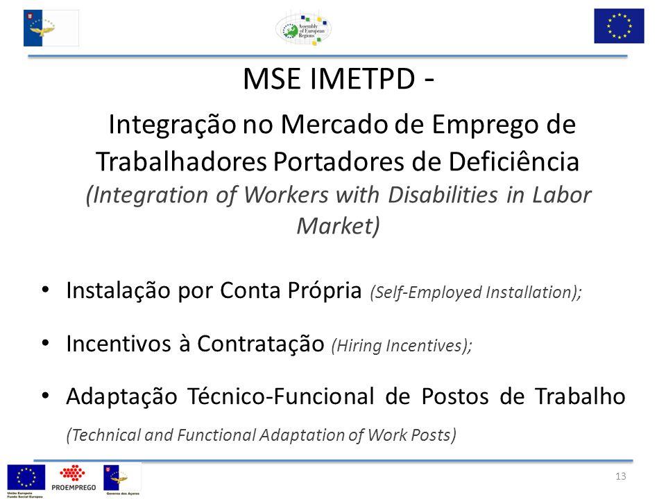 MSE IMETPD - Integração no Mercado de Emprego de Trabalhadores Portadores de Deficiência (Integration of Workers with Disabilities in Labor Market) Instalação por Conta Própria (Self-Employed Installation); Incentivos à Contratação (Hiring Incentives); Adaptação Técnico-Funcional de Postos de Trabalho (Technical and Functional Adaptation of Work Posts) 13