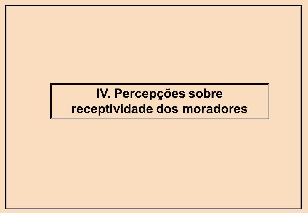 IV. Percepções sobre receptividade dos moradores