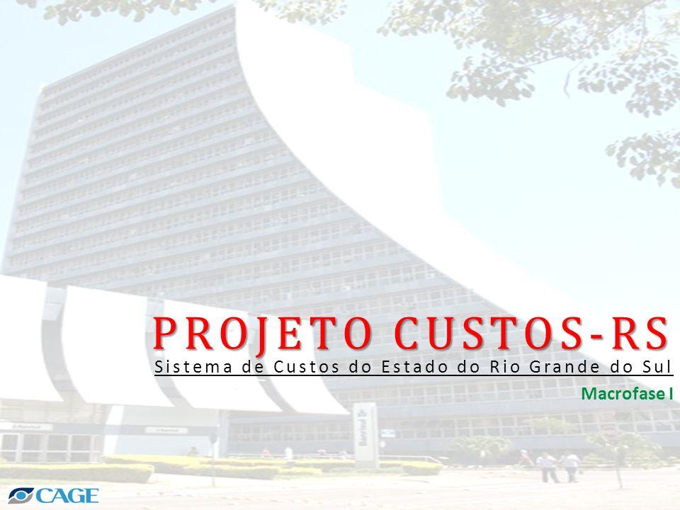 PROJETO CUSTOS-RS Sistema de Consolidação e Relatórios de Custos – CUSTOS/RS Desenvolvido e em produção Implantado em 1 de 64 Órgãos/Entidades Corporativo – Módulo FPE Contém a EHCC RESULTADOS