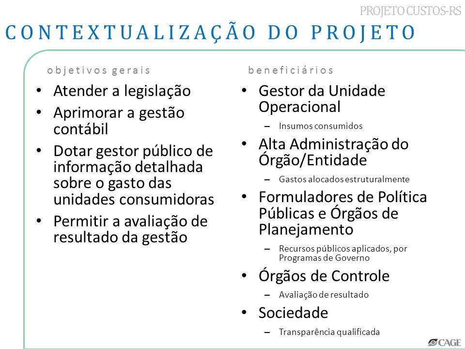 PROJETO CUSTOS-RS Atender a legislação Aprimorar a gestão contábil Dotar gestor público de informação detalhada sobre o gasto das unidades consumidora