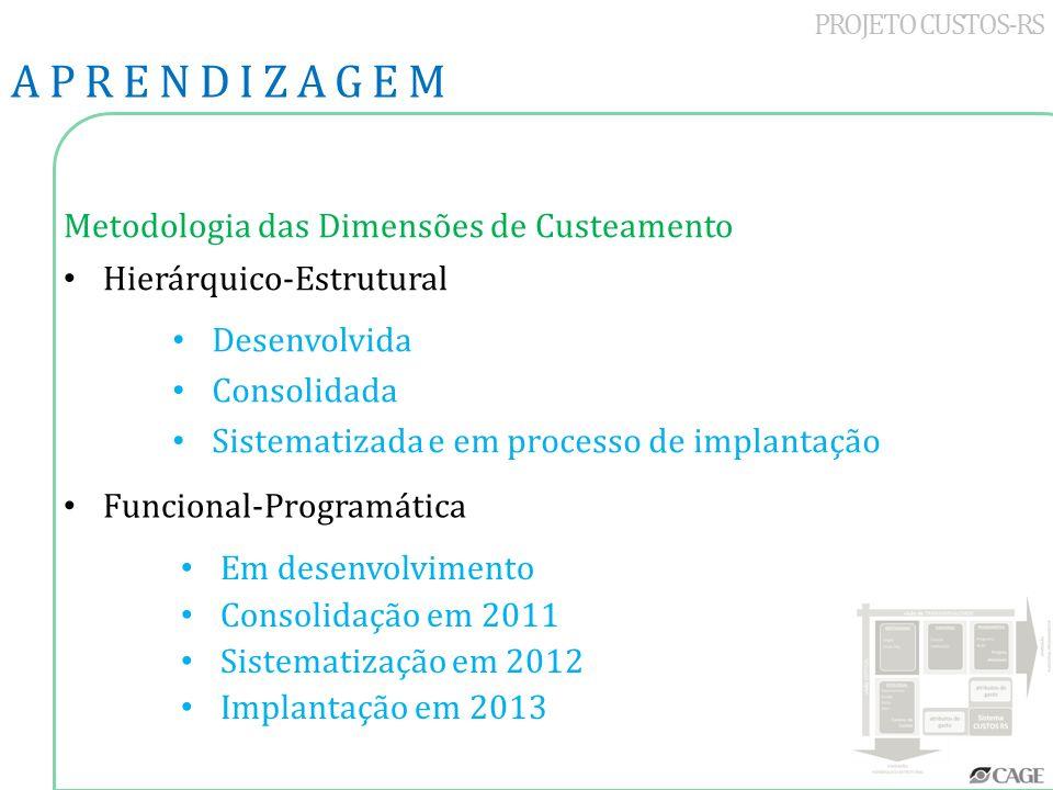 PROJETO CUSTOS-RS Metodologia das Dimensões de Custeamento Hierárquico-Estrutural APRENDIZAGEM Desenvolvida Consolidada Sistematizada e em processo de