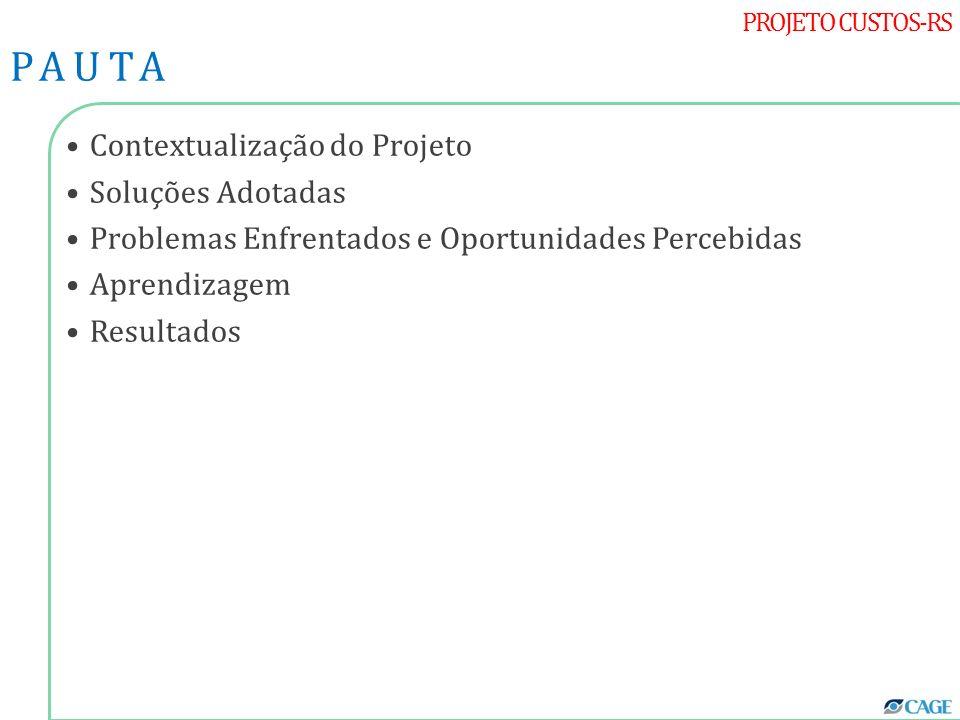 PROJETO CUSTOS-RS Contextualização do Projeto Soluções Adotadas Problemas Enfrentados e Oportunidades Percebidas Aprendizagem Resultados PAUTA