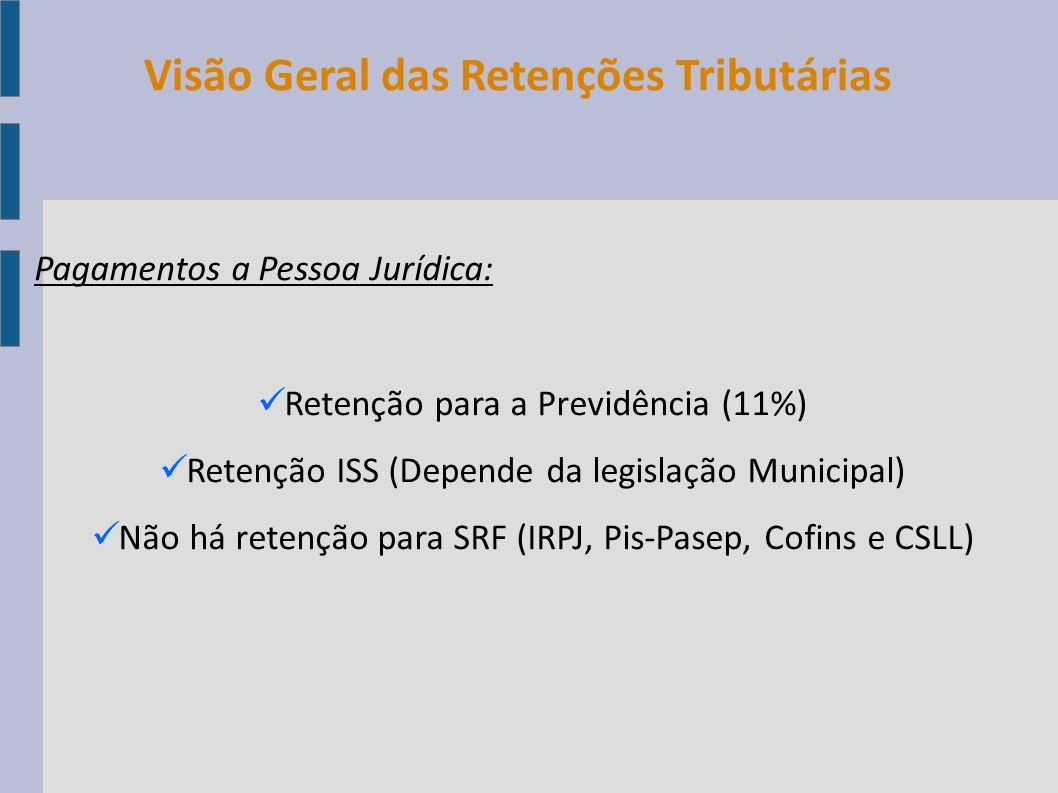 Pagamentos a Pessoa Jurídica: Retenção para a Previdência (11%) Retenção ISS (Depende da legislação Municipal) Não há retenção para SRF (IRPJ, Pis-Pas