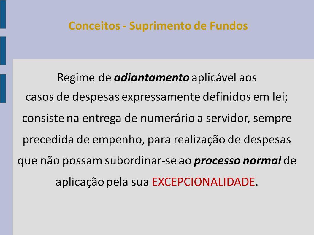 Regime de adiantamento aplicável aos casos de despesas expressamente definidos em lei; consiste na entrega de numerário a servidor, sempre precedida d