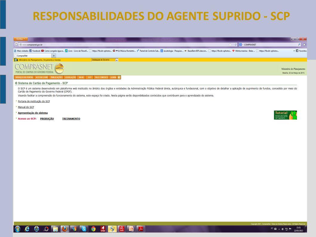 RESPONSABILIDADES DO AGENTE SUPRIDO - SCP