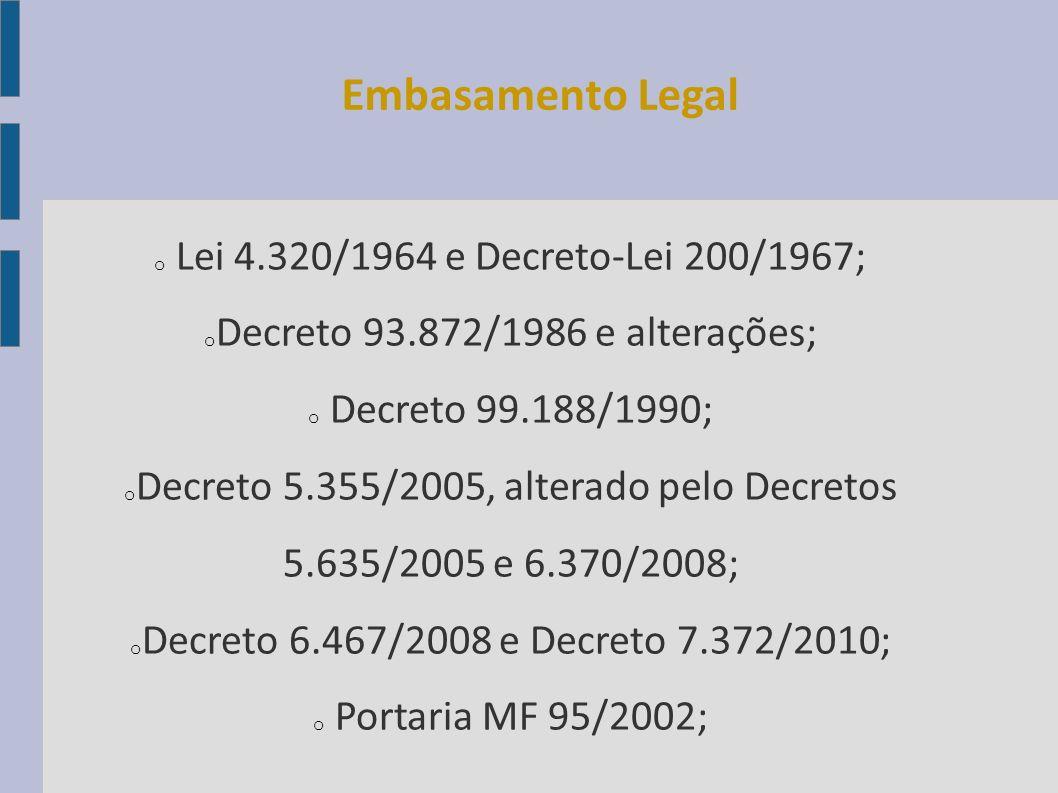 o Lei 4.320/1964 e Decreto-Lei 200/1967; o Decreto 93.872/1986 e alterações; o Decreto 99.188/1990; o Decreto 5.355/2005, alterado pelo Decretos 5.635