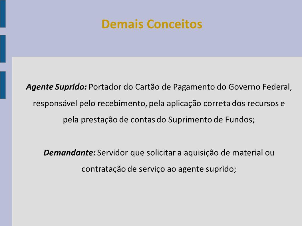 Agente Suprido: Portador do Cartão de Pagamento do Governo Federal, responsável pelo recebimento, pela aplicação correta dos recursos e pela prestação