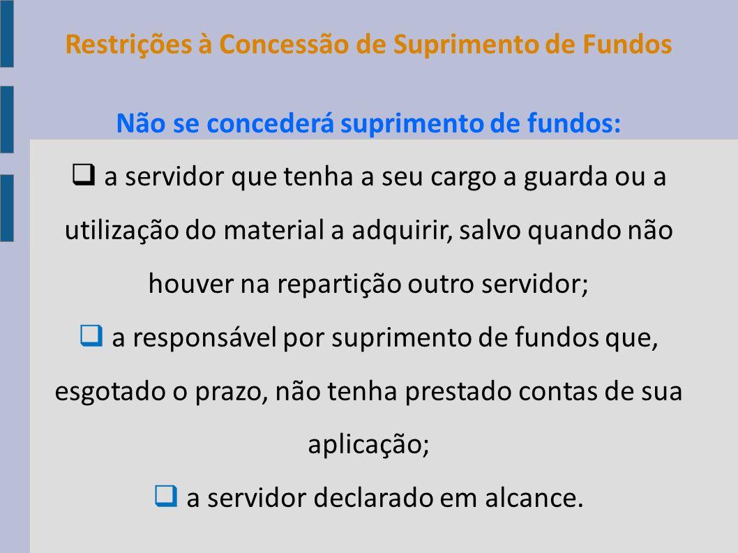 Limites para Suprimento de Fundos mediante CPGF Compras e Serviços em Geral SuprimentoNota Fiscal R$ 8.000,00R$ 800,00 Cada documento de comprovação do gasto da mesma natureza de despesa não poderá ultrapassar o valor de R$ 800,00.