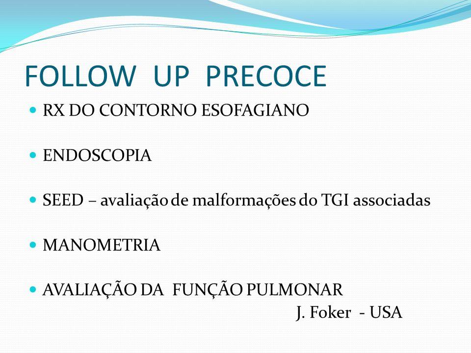 FOLLOW UP PRECOCE RX DO CONTORNO ESOFAGIANO ENDOSCOPIA SEED – avaliação de malformações do TGI associadas MANOMETRIA AVALIAÇÃO DA FUNÇÃO PULMONAR J. F